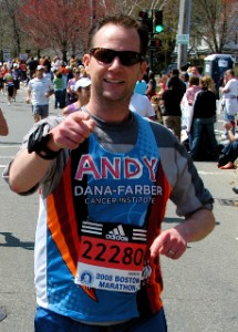 Andy running The Boston Marathon for Dana Farber